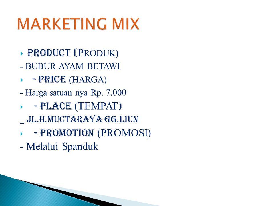  PRODUCT ( P RODUK) - BUBUR AYAM BETAWI  - PRICE (HARGA) - Harga satuan nya Rp. 7.000  - PLACE (TEMPAT ) _ JL.H.MUCTARAYA GG.LIUN  - PROMOTION (PR
