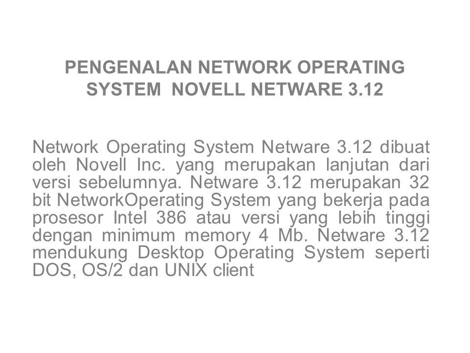 PENGENALAN NETWORK OPERATING SYSTEM NOVELL NETWARE 3.12 Network Operating System Netware 3.12 dibuat oleh Novell Inc.