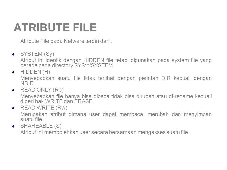 ATRIBUTE FILE Atribute File pada Netware terdiri dari : SYSTEM (Sy) Atribut ini identik dengan HIDDEN file tetapi digunakan pada system file yang berada pada directory SYS:=/SYSTEM.