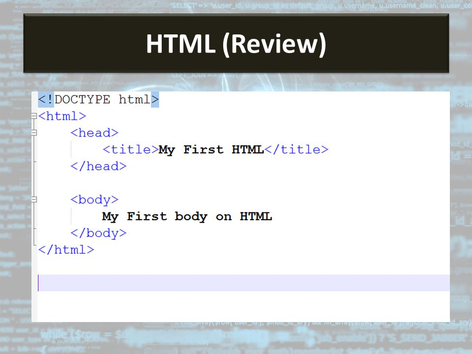 HTML HTML (Review)