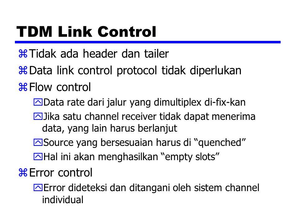 TDM Link Control zTidak ada header dan tailer zData link control protocol tidak diperlukan zFlow control yData rate dari jalur yang dimultiplex di-fix