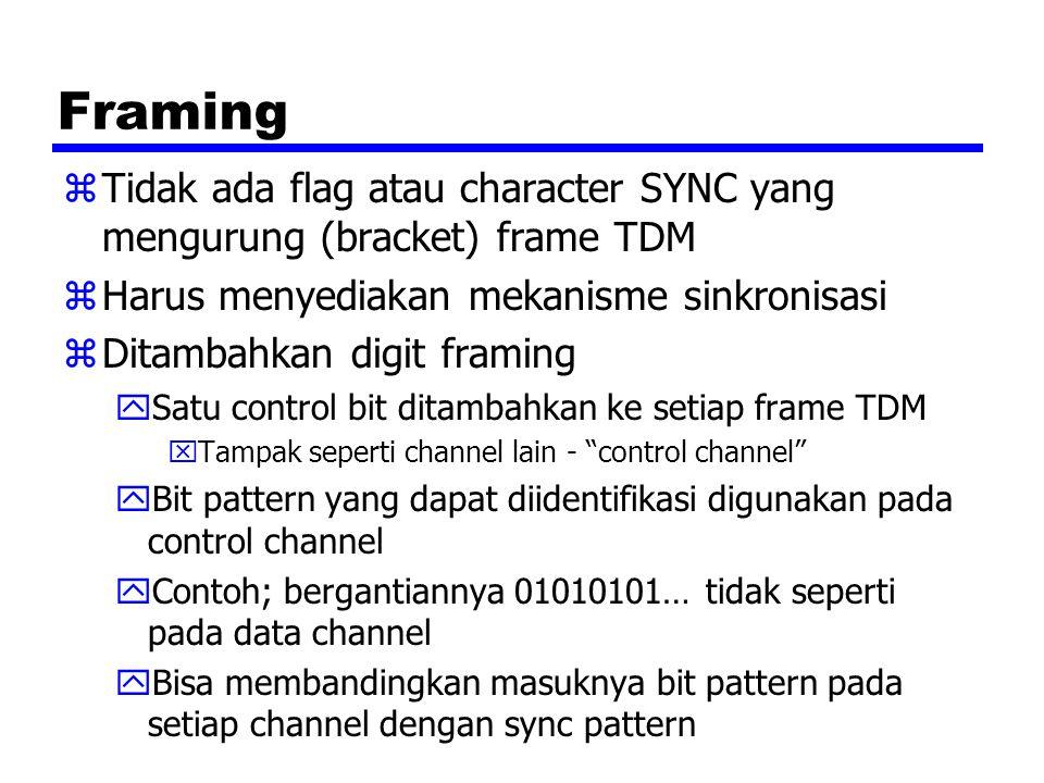 Framing zTidak ada flag atau character SYNC yang mengurung (bracket) frame TDM zHarus menyediakan mekanisme sinkronisasi zDitambahkan digit framing ySatu control bit ditambahkan ke setiap frame TDM xTampak seperti channel lain - control channel yBit pattern yang dapat diidentifikasi digunakan pada control channel yContoh; bergantiannya 01010101… tidak seperti pada data channel yBisa membandingkan masuknya bit pattern pada setiap channel dengan sync pattern