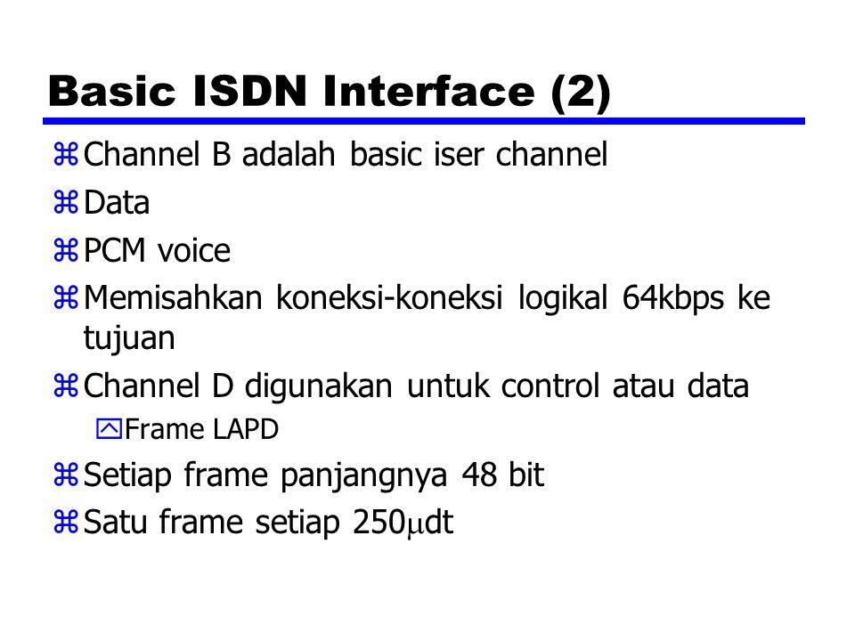 Basic ISDN Interface (2) zChannel B adalah basic iser channel zData zPCM voice zMemisahkan koneksi-koneksi logikal 64kbps ke tujuan zChannel D digunakan untuk control atau data yFrame LAPD zSetiap frame panjangnya 48 bit zSatu frame setiap 250  dt