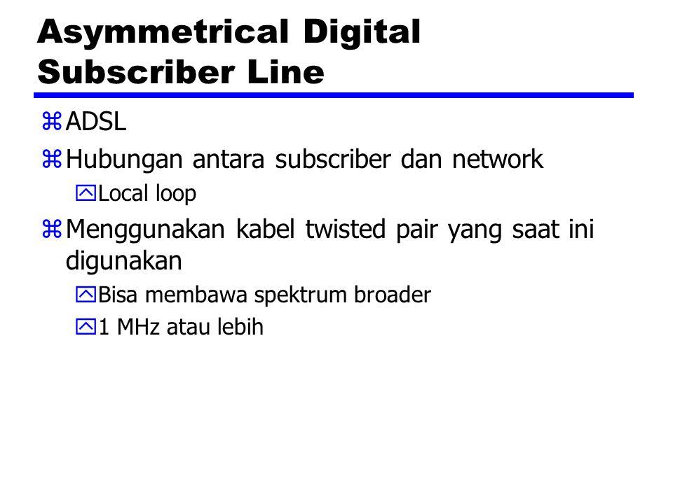 Asymmetrical Digital Subscriber Line zADSL zHubungan antara subscriber dan network yLocal loop zMenggunakan kabel twisted pair yang saat ini digunakan yBisa membawa spektrum broader y1 MHz atau lebih