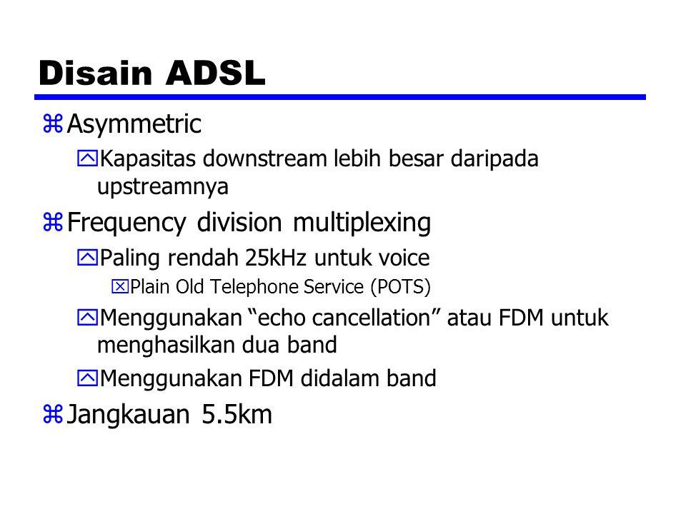 Disain ADSL zAsymmetric yKapasitas downstream lebih besar daripada upstreamnya zFrequency division multiplexing yPaling rendah 25kHz untuk voice xPlain Old Telephone Service (POTS) yMenggunakan echo cancellation atau FDM untuk menghasilkan dua band yMenggunakan FDM didalam band zJangkauan 5.5km