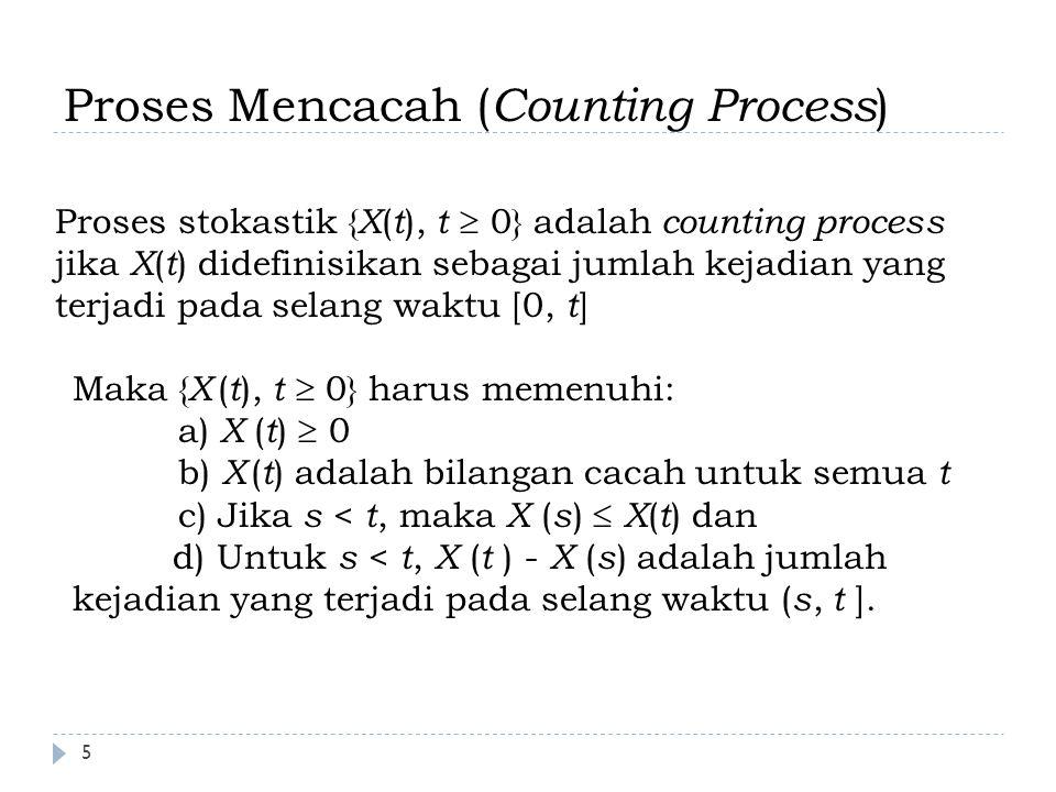 Stasionieritas & Independent Increments stationary increments Suatu counting process mempunyai stationary increments jika untuk sembarang s < t, sebaran bagi X ( t ) – X ( s ) tergantung hanya pada selang waktu t – s : X ( t – s ) independent increments Proses mencacah ( counting process ) mempunyai sifat independent increments jika untuk sembarang 0  s  t  u  v, X(t) – X(s) saling bebas dengan X(v) – X(u) Jumlah kejadian yang terjadi pada selang waktu yang tidak tumpah tindih adalah peubah acah yang saling bebas 6