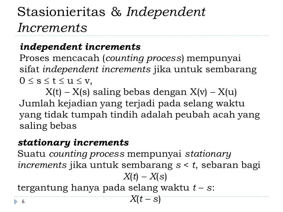 Stasionieritas & Independent Increments stationary increments Suatu counting process mempunyai stationary increments jika untuk sembarang s < t, sebar