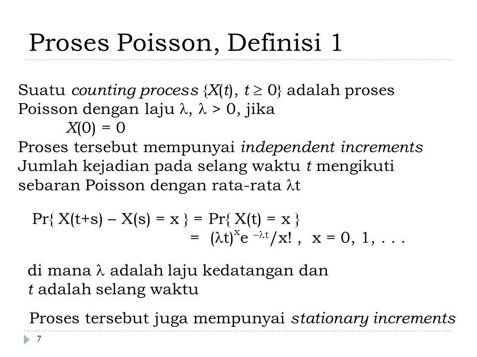 8 Proses Poisson Definisi 2 o ( h ): fungsi polinomial h, h →0, sedemikian sehingga o ( h ) →0 Suatu counting process { X ( t ), t  0} adalah Poisson process dengan laju, > 0, jika X(0) = 0 dan proses tersebut mempunyai sifat stasioner dan independent increments Pr{X(h) = 0} = 1 - h + o ( h ): peluang bahwa tidak ada kejadian pada selang waktu h Pr{X(h) = 1} = h + o ( h ): peluang bahwa terdapat satu kejadian pada selang waktu h Pr{X(h) > 1} = o ( h ): peluang bahwa terdapat satu atau lebih kejadian pada selang waktu h Sifat-sifat tersebut diturunkan dari deret Taylor