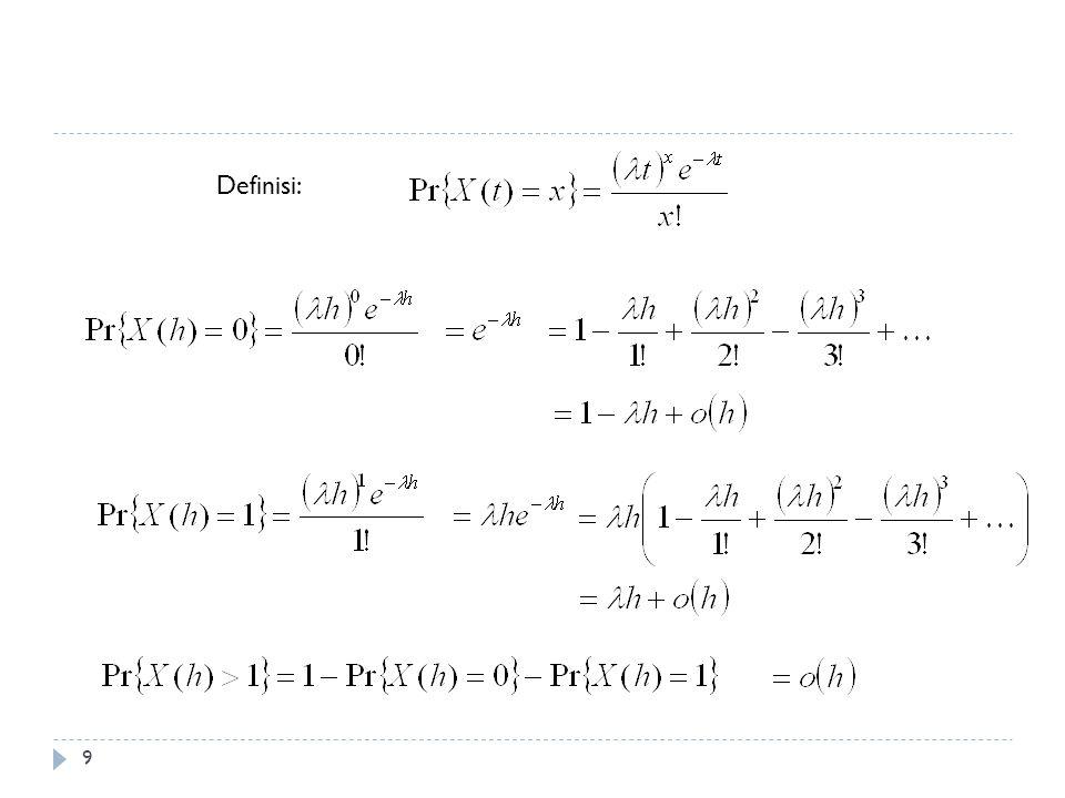 10 Waktu antar Kedatangan ( Interarrival times ) dan Waktu Tunggu ( Waiting Times ) t X(t)X(t) T2T2 T1T1 T3T3 T4T4 S1S1 S2S2 S3S3 S4S4 Total waktu tunggu sampai dengan kejadian ke n mempunyai sebaran gamma Waktu antar kedatangan T 1, T 2, … adalah peubah acak eksponensial yang saling bebas dengan rata-rata 1/ : P(T1>t) = P(X(t) =0) = e - t λ
