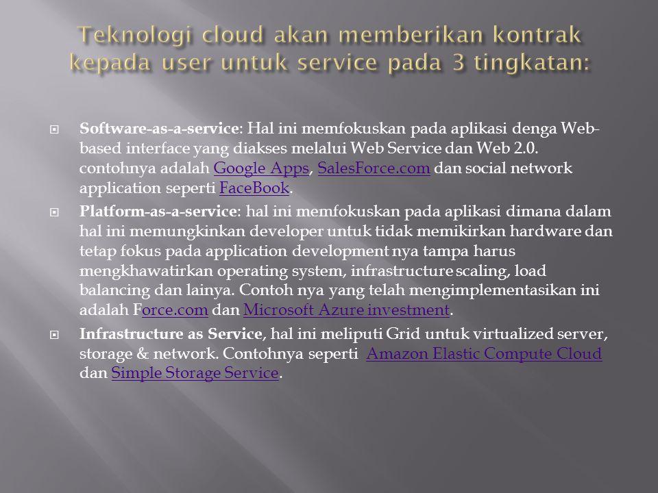  Software-as-a-service : Hal ini memfokuskan pada aplikasi denga Web- based interface yang diakses melalui Web Service dan Web 2.0. contohnya adalah