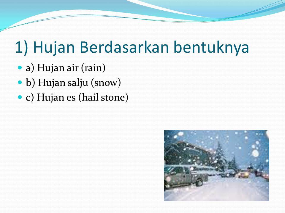 1) Hujan Berdasarkan bentuknya a) Hujan air (rain) b) Hujan salju (snow) c) Hujan es (hail stone)