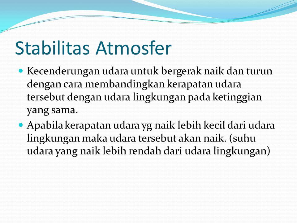 Stabilitas Atmosfer Kecenderungan udara untuk bergerak naik dan turun dengan cara membandingkan kerapatan udara tersebut dengan udara lingkungan pada