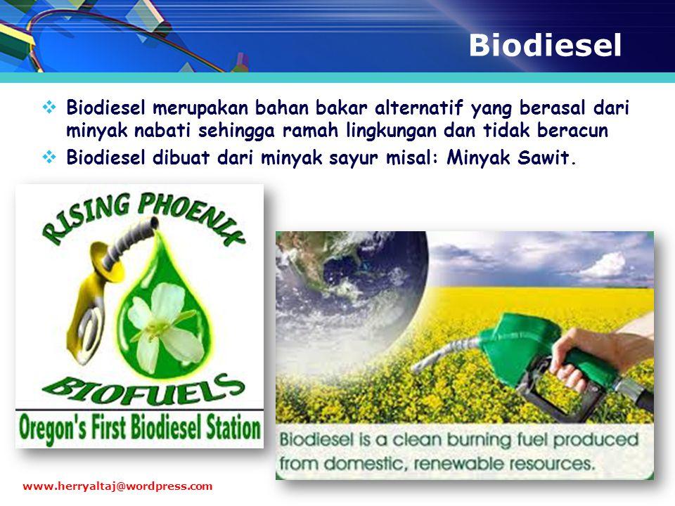 Biodiesel  Biodiesel merupakan bahan bakar alternatif yang berasal dari minyak nabati sehingga ramah lingkungan dan tidak beracun  Biodiesel dibuat