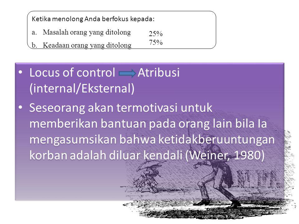 Locus of controlAtribusi (internal/Eksternal) Seseorang akan termotivasi untuk memberikan bantuan pada orang lain bila Ia mengasumsikan bahwa ketidakb