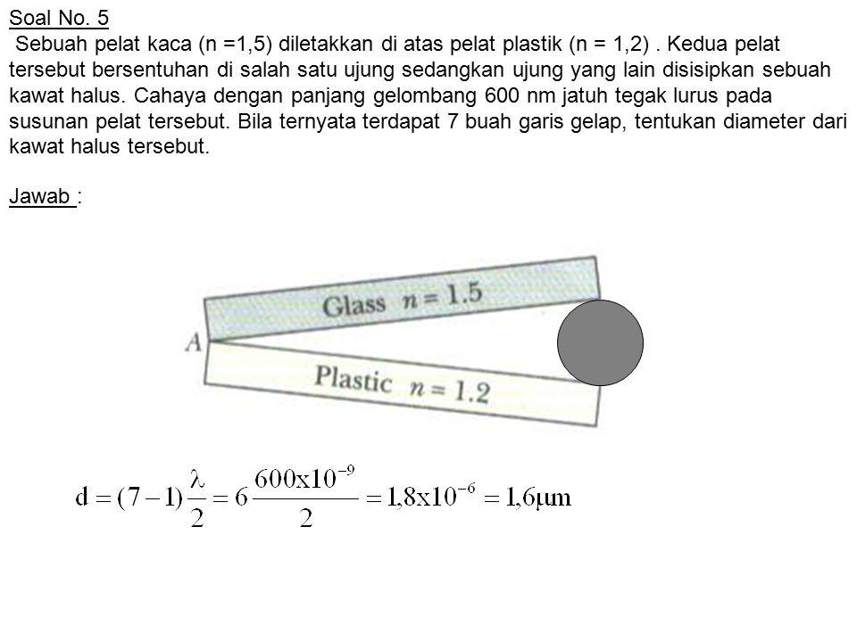 Soal No. 5 Sebuah pelat kaca (n =1,5) diletakkan di atas pelat plastik (n = 1,2). Kedua pelat tersebut bersentuhan di salah satu ujung sedangkan ujung
