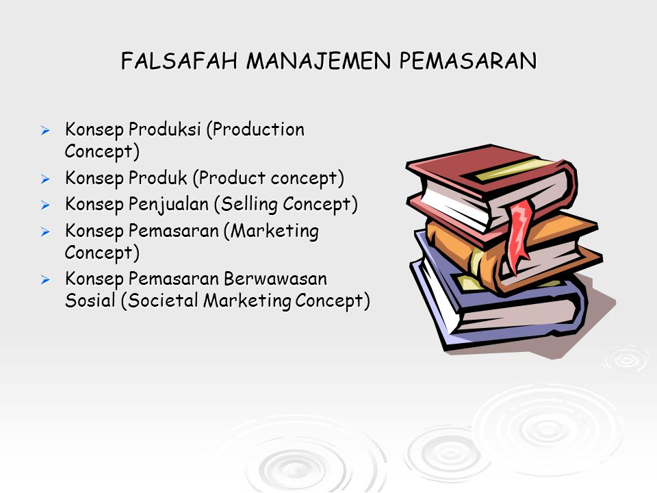 FALSAFAH MANAJEMEN PEMASARAN  Konsep Produksi (Production Concept)  Konsep Produk (Product concept)  Konsep Penjualan (Selling Concept)  Konsep Pemasaran (Marketing Concept)  Konsep Pemasaran Berwawasan Sosial (Societal Marketing Concept)