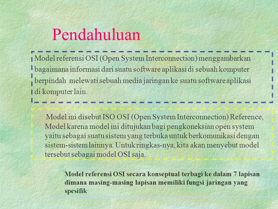 MODEL-MODEL REFERENSI Model Referensi OSI d Model OSI memiliki 7 layer.