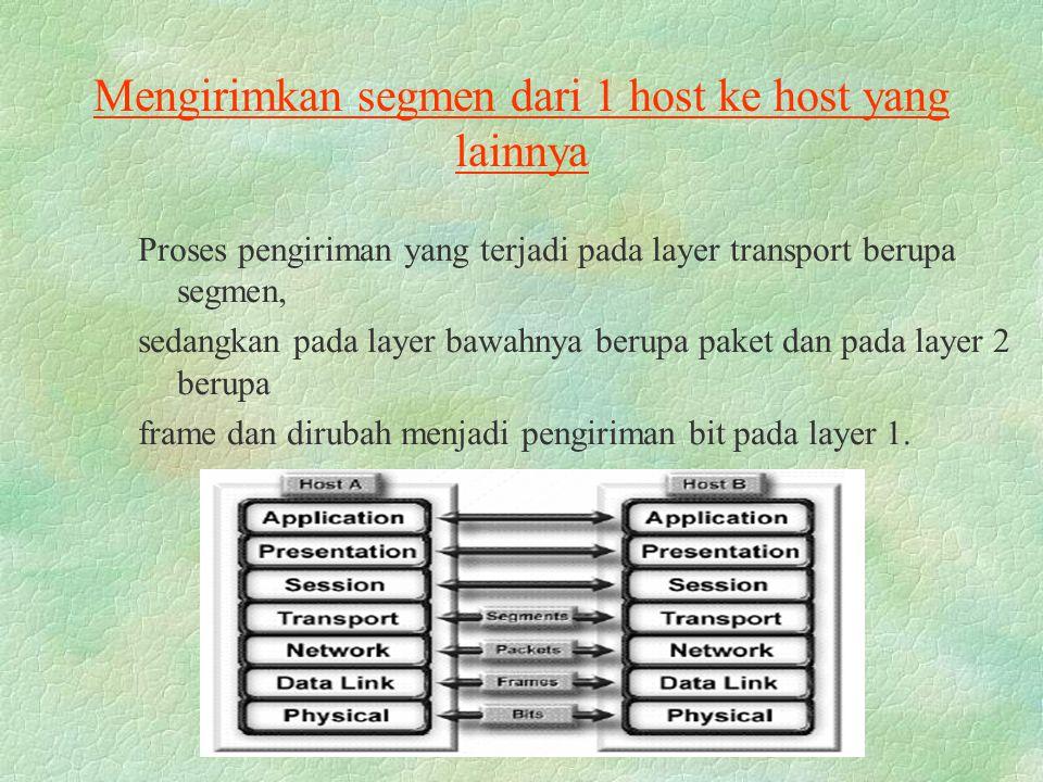 Mengirimkan segmen dari 1 host ke host yang lainnya Proses pengiriman yang terjadi pada layer transport berupa segmen, sedangkan pada layer bawahnya b