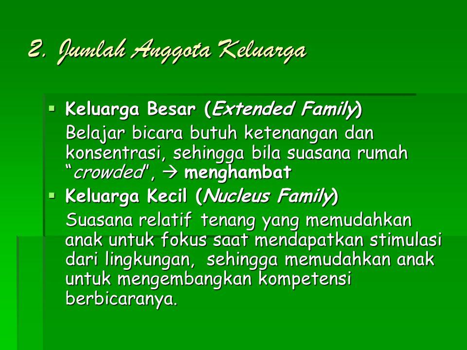 """2. Jumlah Anggota Keluarga  Keluarga Besar (Extended Family) Belajar bicara butuh ketenangan dan konsentrasi, sehingga bila suasana rumah """"crowded"""","""