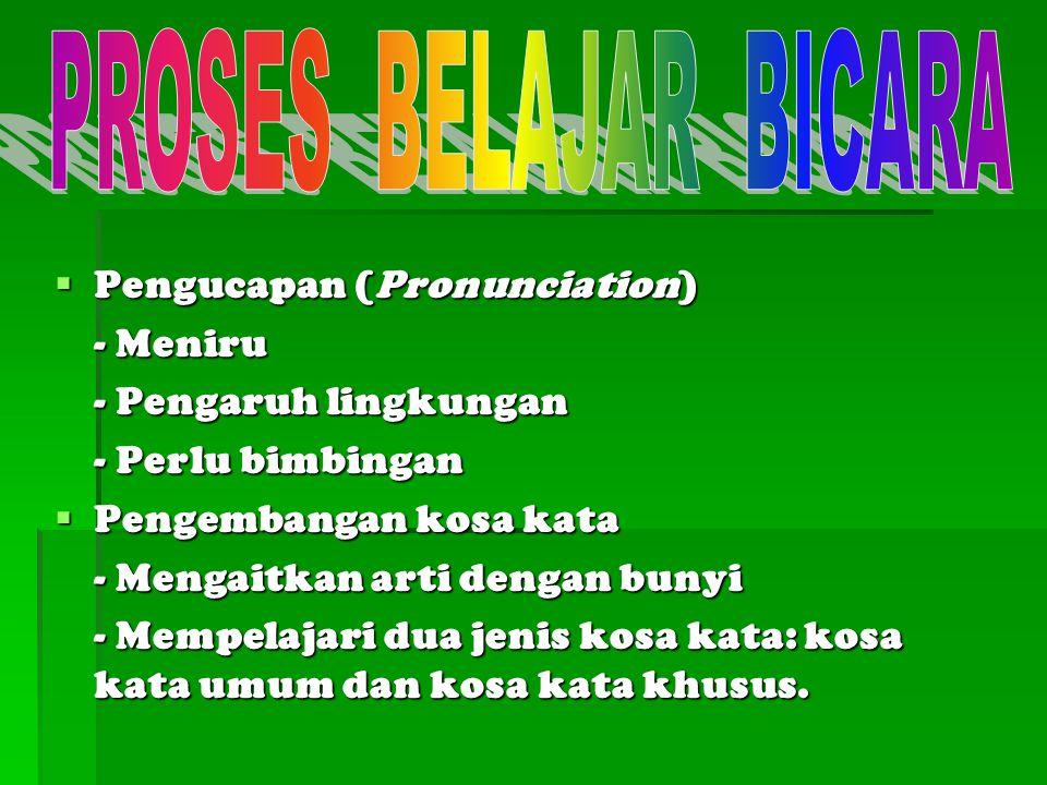  Pengucapan (Pronunciation) - Meniru - Pengaruh lingkungan - Perlu bimbingan  Pengembangan kosa kata - Mengaitkan arti dengan bunyi - Mempelajari du