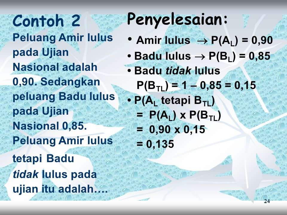 24 Contoh 2 Peluang Amir lulus pada Ujian Nasional adalah 0,90.