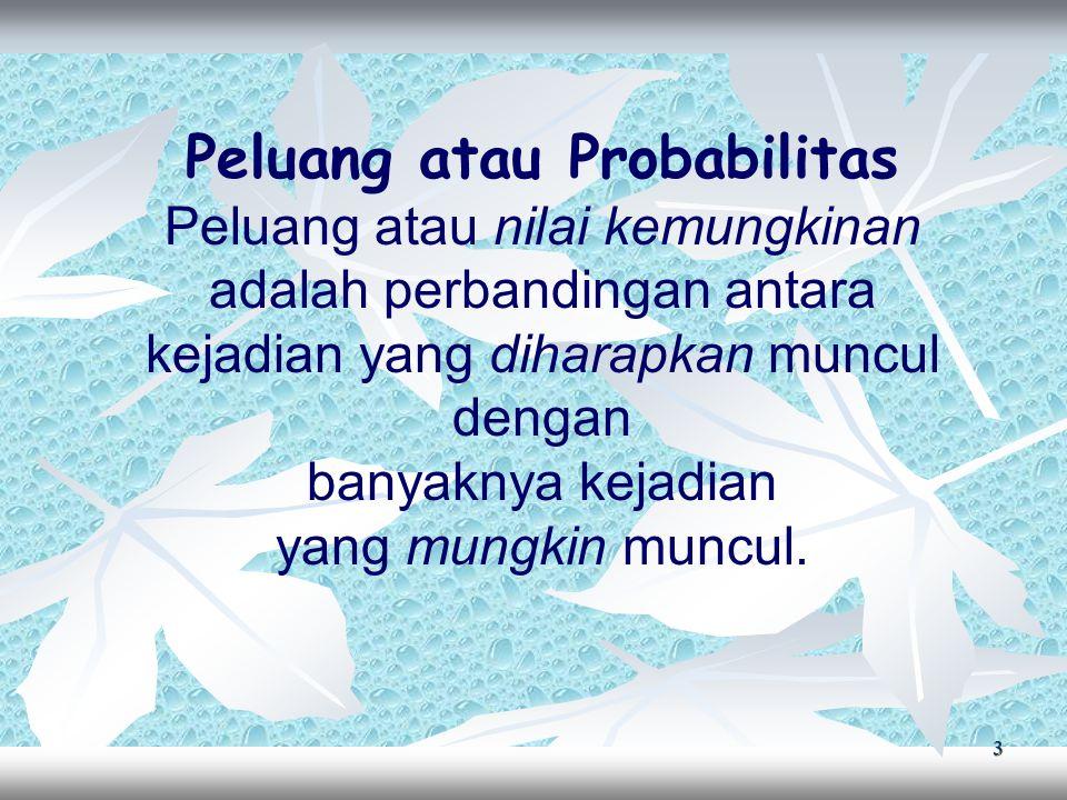 14 Penyelesaian: kemungkinan pasangan anak yang akan dimiliki: keduanya laki-laki, keduanya perempuan atau 1 laki- laki dan 1 perempuan  n(S) = 3 Peluang paling sedikit 1 laki-laki = 1 – peluang semua perempuan = 1 – = 1 –