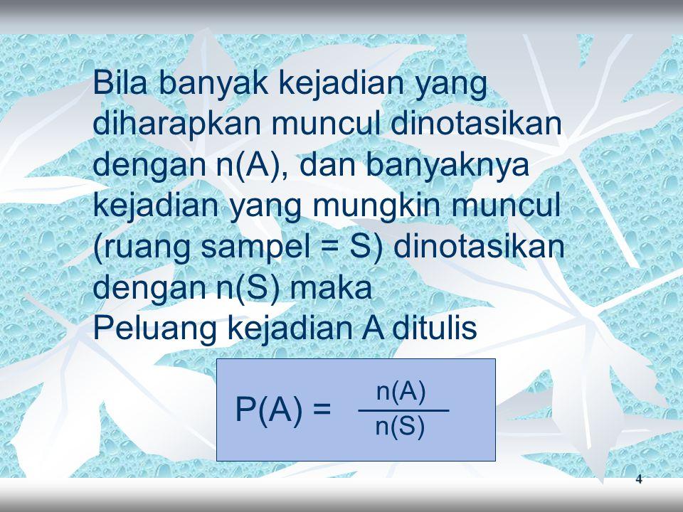 4 Bila banyak kejadian yang diharapkan muncul dinotasikan dengan n(A), dan banyaknya kejadian yang mungkin muncul (ruang sampel = S) dinotasikan dengan n(S) maka Peluang kejadian A ditulis P(A) = n(A) n(S)