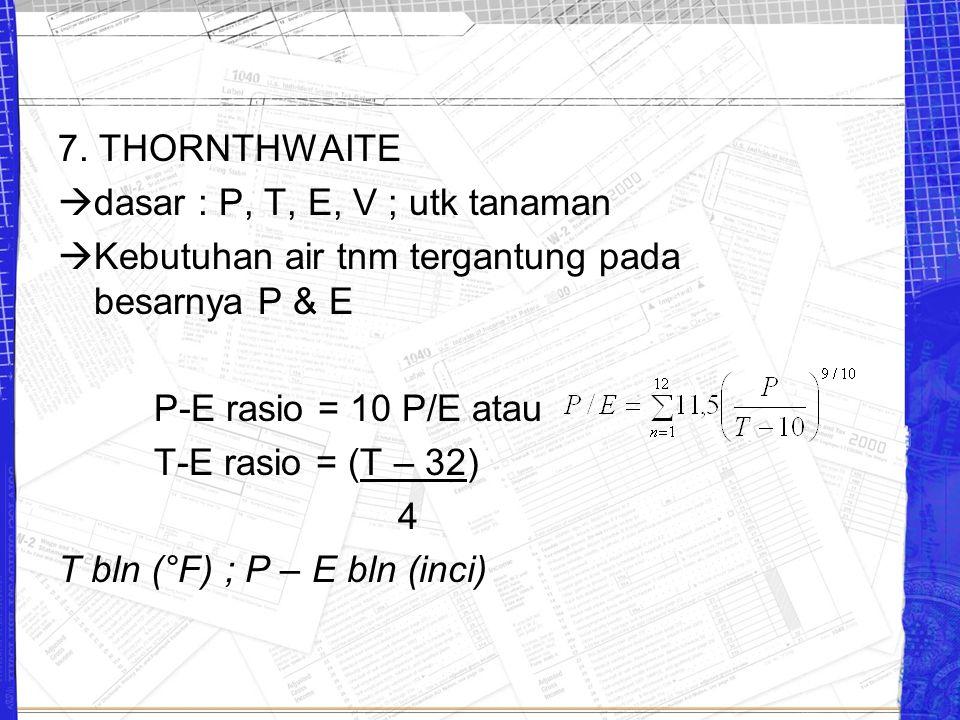 7. THORNTHWAITE  dasar : P, T, E, V ; utk tanaman  Kebutuhan air tnm tergantung pada besarnya P & E P-E rasio = 10 P/E atau T-E rasio = (T – 32) 4 T