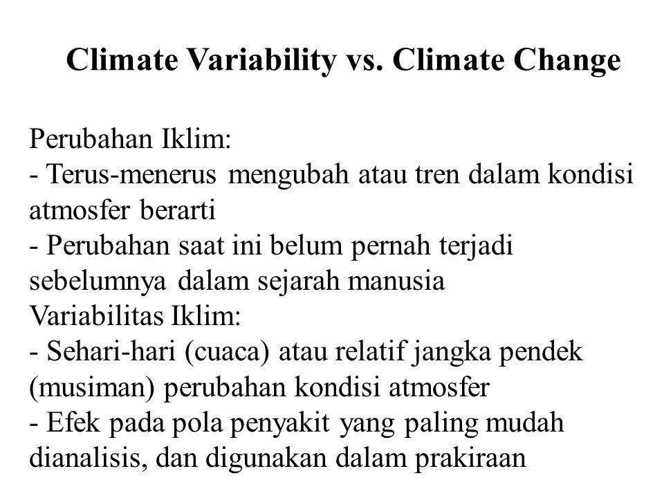 Climate Variability vs. Climate Change Perubahan Iklim: - Terus-menerus mengubah atau tren dalam kondisi atmosfer berarti - Perubahan saat ini belum p