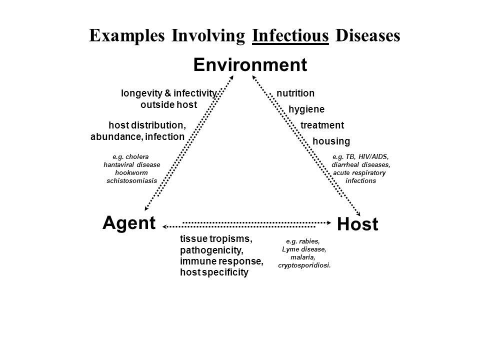 Environment host distribution, abundance, infection longevity & infectivity outside host e.g. cholera hantaviral disease hookworm schistosomiasis Agen