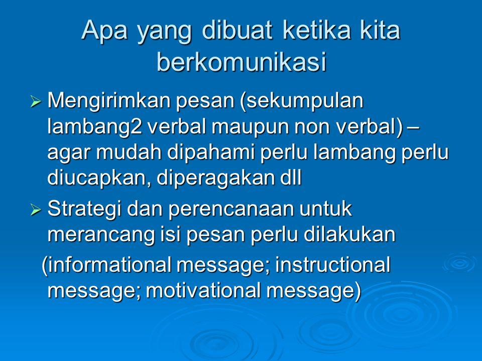 Apa yang dibuat ketika kita berkomunikasi  Mengirimkan pesan (sekumpulan lambang2 verbal maupun non verbal) – agar mudah dipahami perlu lambang perlu