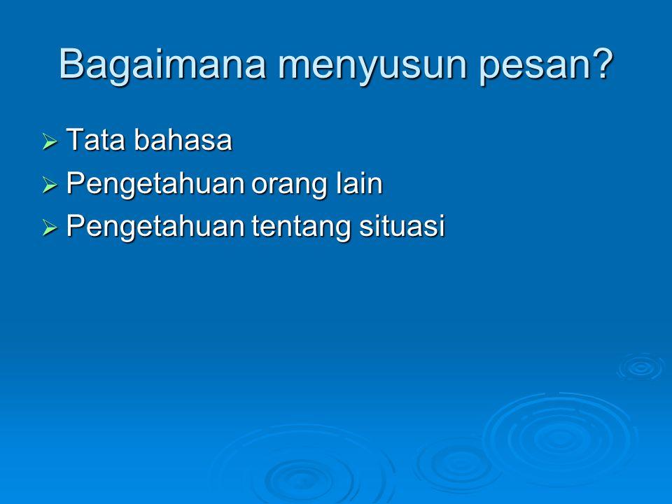 Bagaimana menyusun pesan?  Tata bahasa  Pengetahuan orang lain  Pengetahuan tentang situasi