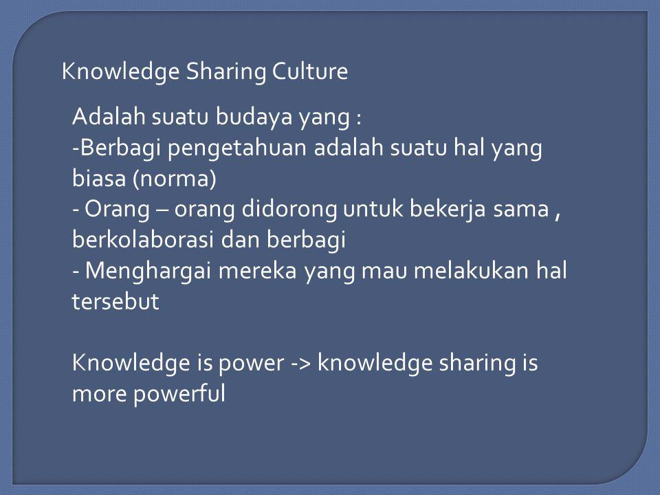 Knowledge Sharing Culture Adalah suatu budaya yang : -Berbagi pengetahuan adalah suatu hal yang biasa (norma) - Orang – orang didorong untuk bekerja sama, berkolaborasi dan berbagi - Menghargai mereka yang mau melakukan hal tersebut Knowledge is power -> knowledge sharing is more powerful