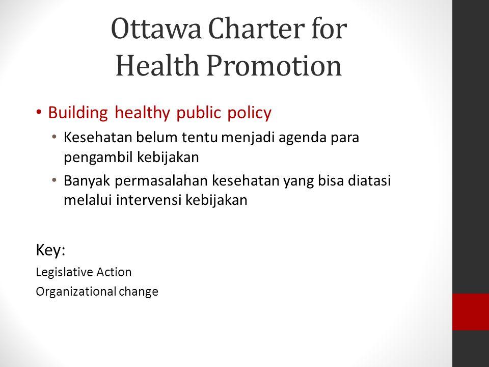 Ottawa Charter for Health Promotion Building healthy public policy Kesehatan belum tentu menjadi agenda para pengambil kebijakan Banyak permasalahan kesehatan yang bisa diatasi melalui intervensi kebijakan Key: Legislative Action Organizational change