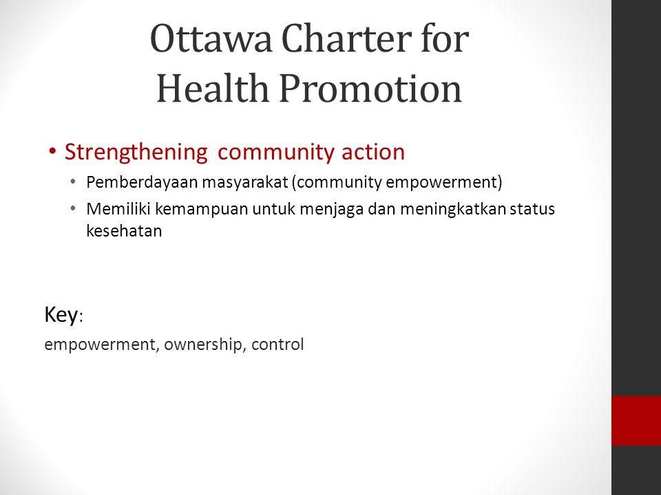 Ottawa Charter for Health Promotion Strengthening community action Pemberdayaan masyarakat (community empowerment) Memiliki kemampuan untuk menjaga dan meningkatkan status kesehatan Key : empowerment, ownership, control