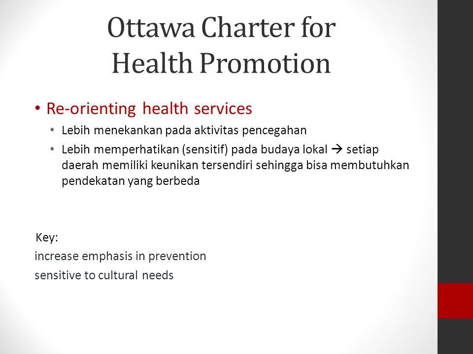 Ottawa Charter for Health Promotion Re-orienting health services Lebih menekankan pada aktivitas pencegahan Lebih memperhatikan (sensitif) pada budaya lokal  setiap daerah memiliki keunikan tersendiri sehingga bisa membutuhkan pendekatan yang berbeda Key: increase emphasis in prevention sensitive to cultural needs