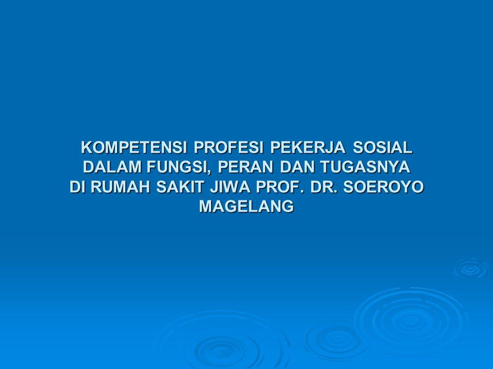 KOMPETENSI PROFESI PEKERJA SOSIAL DALAM FUNGSI, PERAN DAN TUGASNYA DI RUMAH SAKIT JIWA PROF. DR. SOEROYO MAGELANG