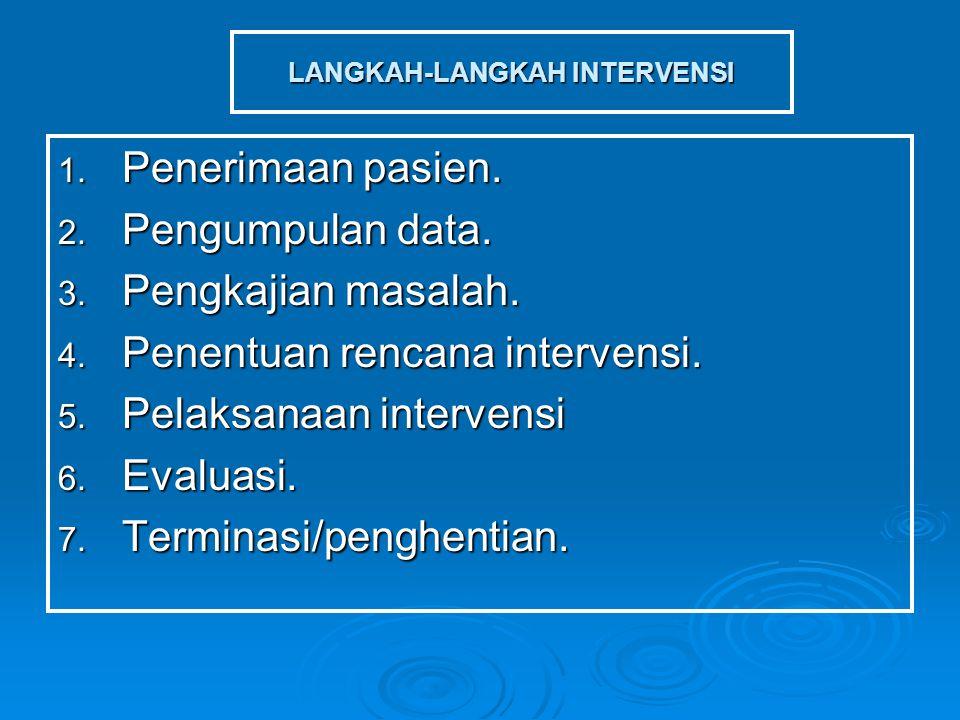 LANGKAH-LANGKAH INTERVENSI 1. Penerimaan pasien. 2. Pengumpulan data. 3. Pengkajian masalah. 4. Penentuan rencana intervensi. 5. Pelaksanaan intervens