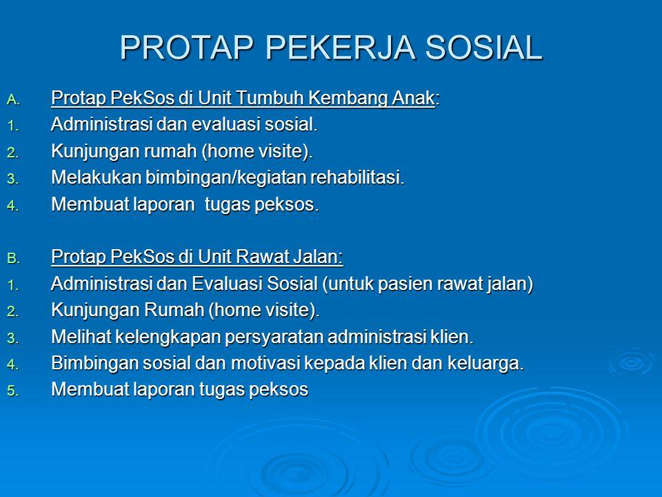 PROTAP PEKERJA SOSIAL A. Protap PekSos di Unit Tumbuh Kembang Anak: 1. Administrasi dan evaluasi sosial. 2. Kunjungan rumah (home visite). 3. Melakuka