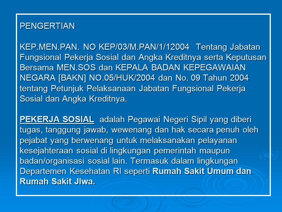 PENGERTIAN KEP.MEN.PAN. NO KEP/03/M.PAN/1/12004 Tentang Jabatan Fungsional Pekerja Sosial dan Angka Kreditnya serta Keputusan Bersama MEN.SOS dan KEPA