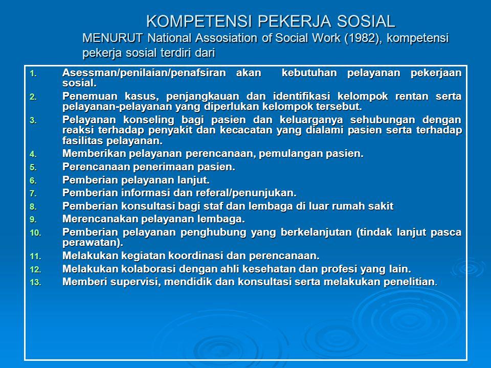 KOMPETENSI PEKERJA SOSIAL MENURUT National Assosiation of Social Work (1982), kompetensi pekerja sosial terdiri dari KOMPETENSI PEKERJA SOSIAL MENURUT