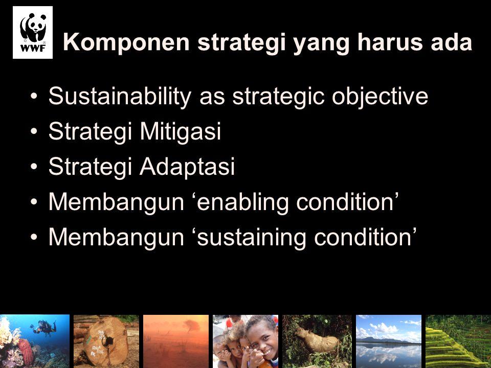 Komponen strategi yang harus ada Sustainability as strategic objective Strategi Mitigasi Strategi Adaptasi Membangun 'enabling condition' Membangun 's