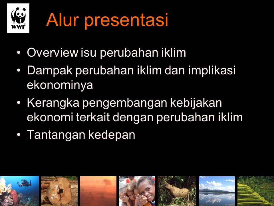 Alur presentasi Overview isu perubahan iklim Dampak perubahan iklim dan implikasi ekonominya Kerangka pengembangan kebijakan ekonomi terkait dengan pe