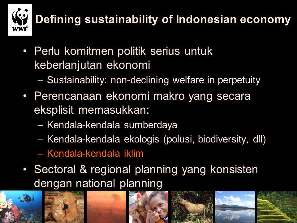 Defining sustainability of Indonesian economy Perlu komitmen politik serius untuk keberlanjutan ekonomi –Sustainability: non-declining welfare in perp