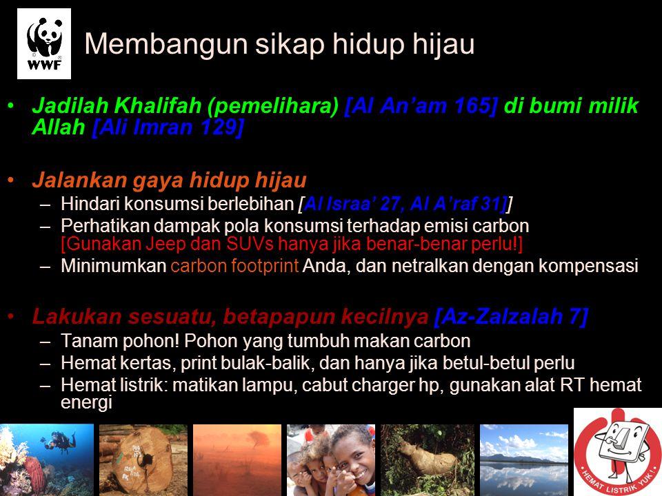 Jadilah Khalifah (pemelihara) [Al An'am 165] di bumi milik Allah [Ali Imran 129] Jalankan gaya hidup hijau –Hindari konsumsi berlebihan [Al Israa' 27,