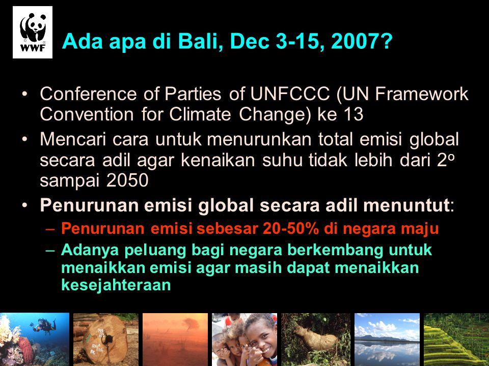 Ada apa di Bali, Dec 3-15, 2007? Conference of Parties of UNFCCC (UN Framework Convention for Climate Change) ke 13 Mencari cara untuk menurunkan tota