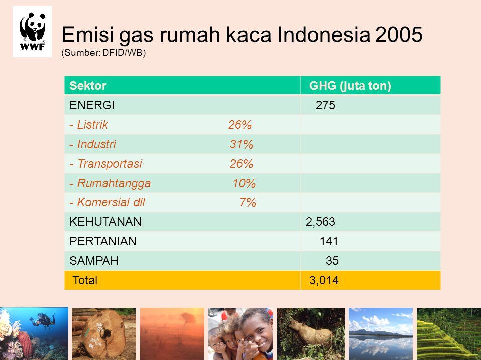 Emisi gas rumah kaca Indonesia 2005 (Sumber: DFID/WB) Sektor GHG (juta ton) ENERGI 275 - Listrik 26% - Industri 31% - Transportasi 26% - Rumahtangga 1
