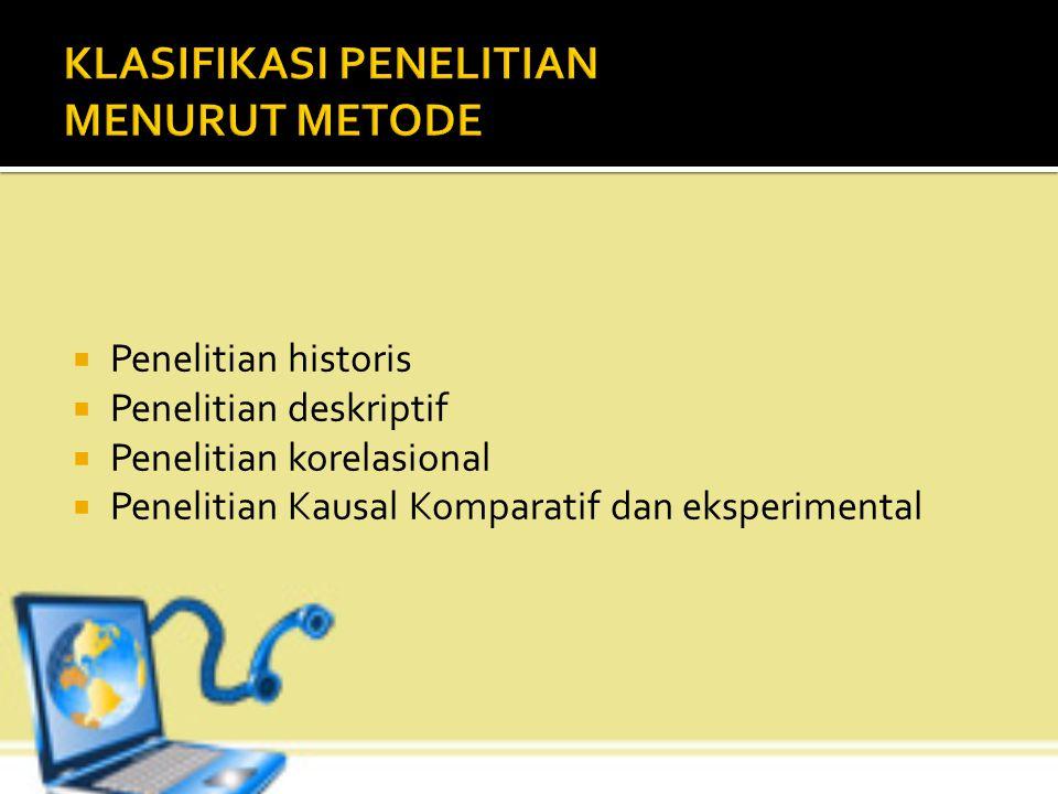 1. Basic reserch (penelitian dasar atau penelitian murni) merupakan penelitian yang meliputi pengembangan ilmu pengetahun ( menguji kebenaran teori at