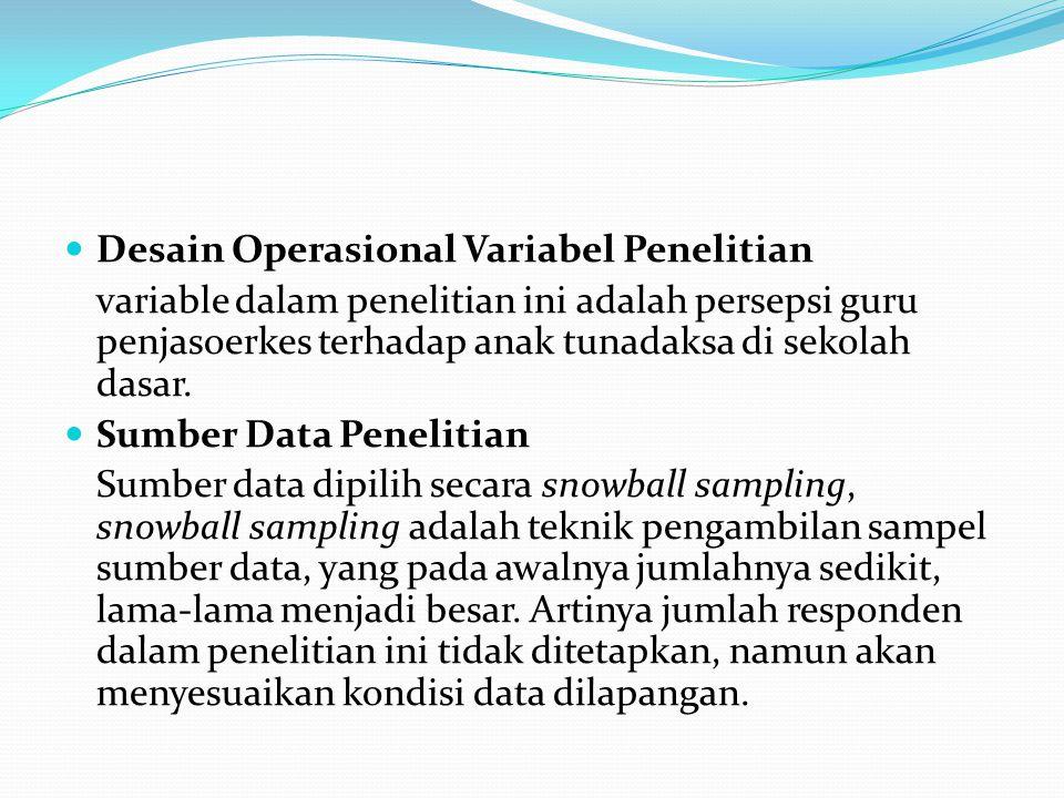 Desain Operasional Variabel Penelitian variable dalam penelitian ini adalah persepsi guru penjasoerkes terhadap anak tunadaksa di sekolah dasar. Sumbe