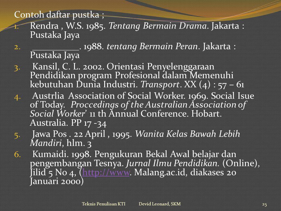 Contoh daftar pustka ; 1.Rendra, W.S. 1985. Tentang Bermain Drama.